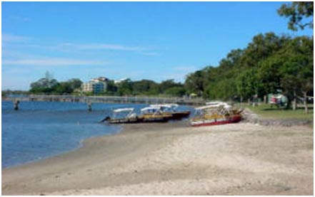 Hire boats on the beach at Maroochydore